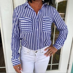 Blue and white button up top by Express